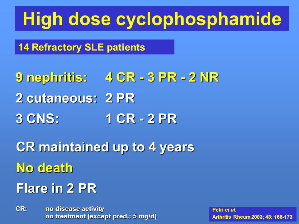 High dose cyclophosphamide