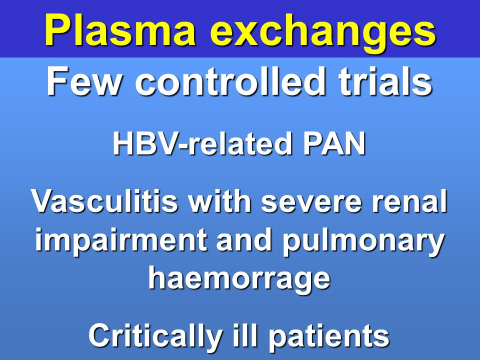 Plasma exchanges Few controlled trials HBV-related PAN