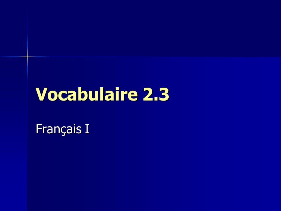 Vocabulaire 2.3 Français I