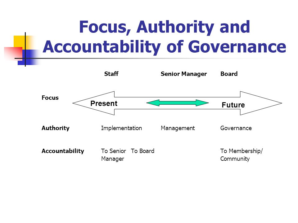 Focus, Authority and Accountability of Governance