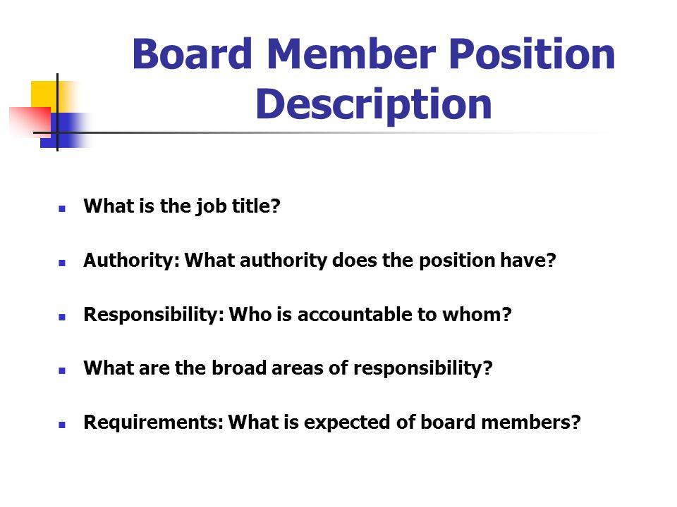 Board Member Position Description