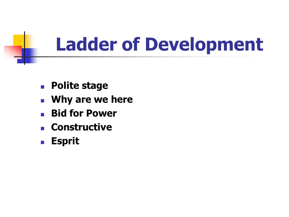 Ladder of Development Polite stage Why are we here Bid for Power