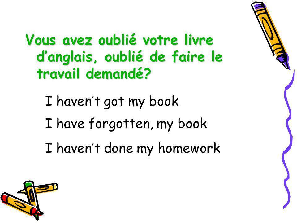 Vous avez oublié votre livre d'anglais, oublié de faire le travail demandé