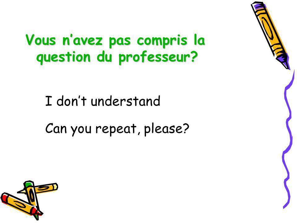Vous n'avez pas compris la question du professeur
