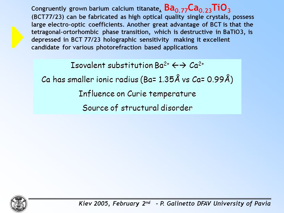 Isovalent substitution Ba2+  Ca2+