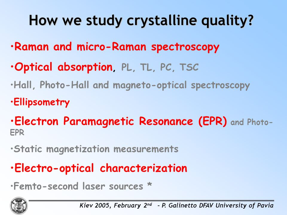 How we study crystalline quality