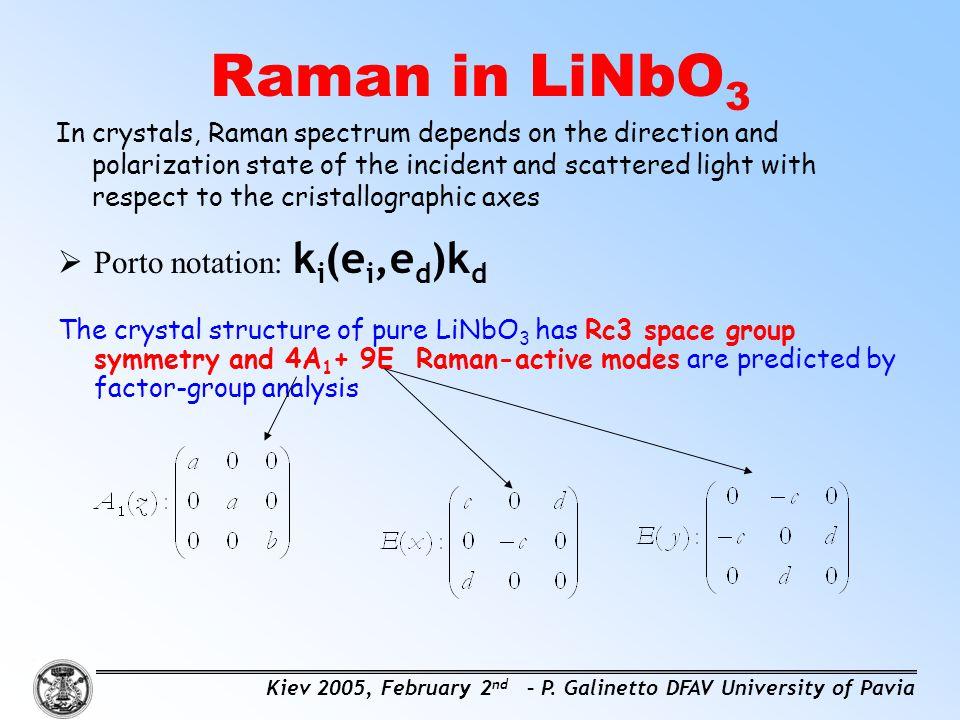 Raman in LiNbO3 Porto notation: ki(ei,ed)kd