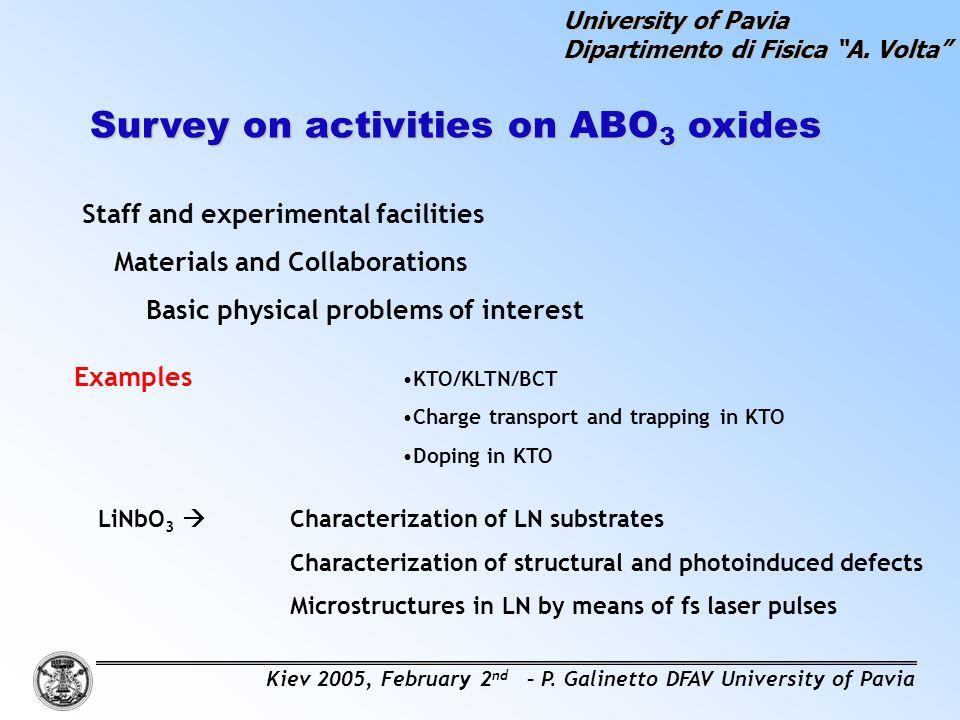Survey on activities on ABO3 oxides
