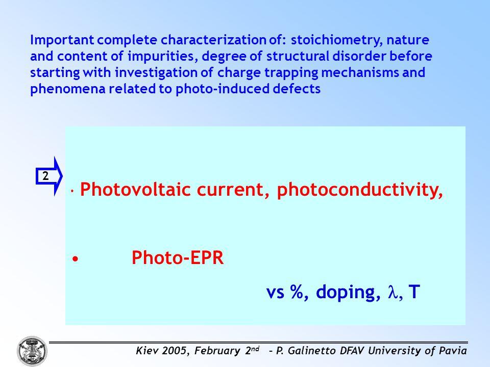 Photo-EPR vs %, doping, l, T