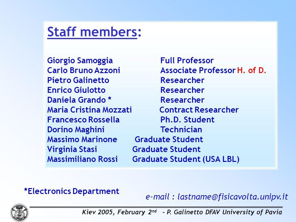 Staff members: Giorgio Samoggia Full Professor