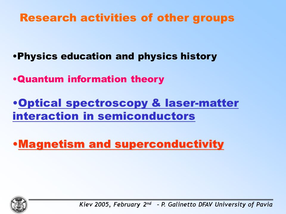 Research activities of other groups