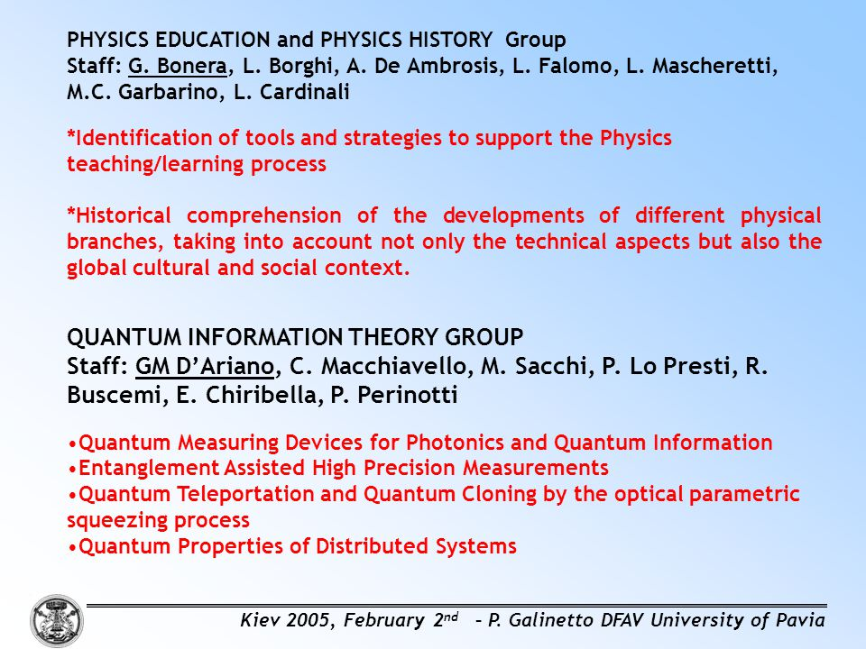 QUANTUM INFORMATION THEORY GROUP