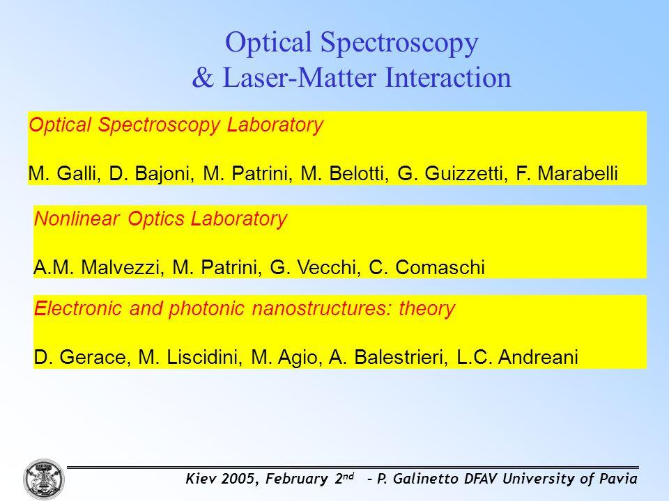 Optical Spectroscopy & Laser-Matter Interaction