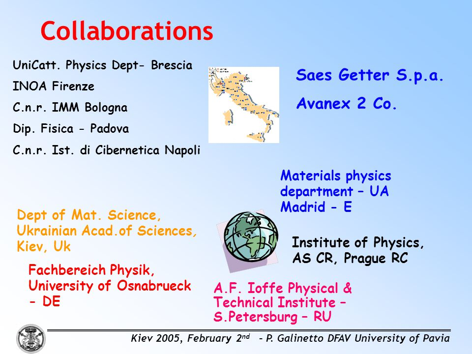 Collaborations Saes Getter S.p.a. Avanex 2 Co.