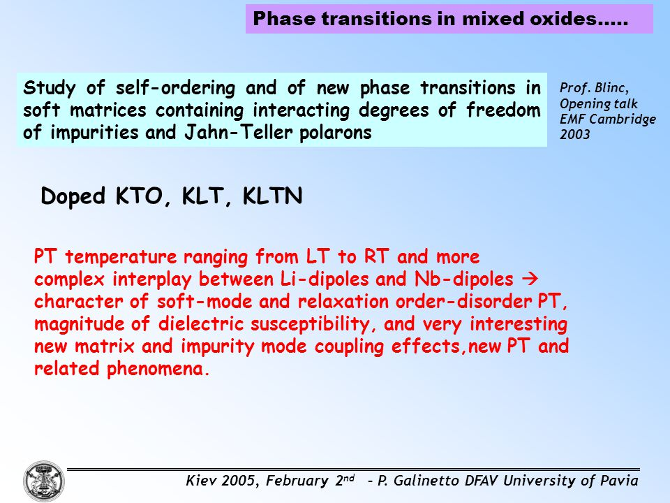 Doped KTO, KLT, KLTN Phase transitions in mixed oxides…..