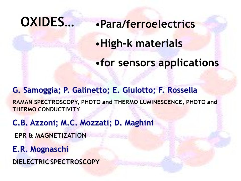 OXIDES… Para/ferroelectrics High-k materials for sensors applications