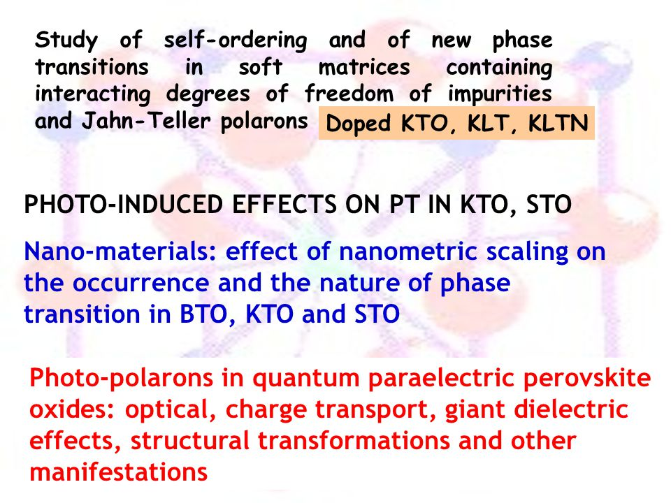 PHOTO-INDUCED EFFECTS ON PT IN KTO, STO