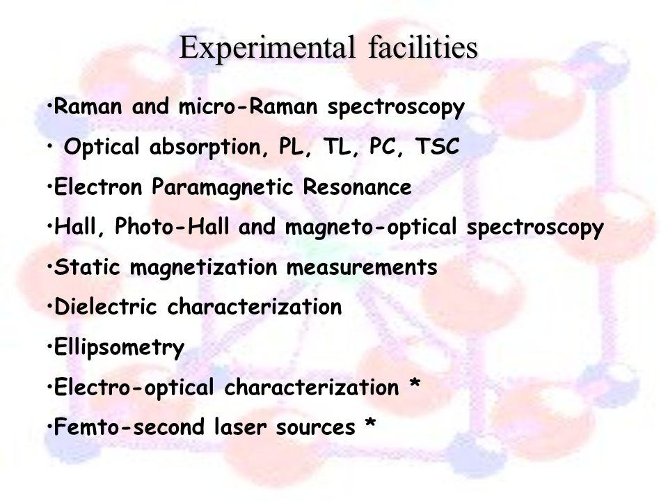 Experimental facilities