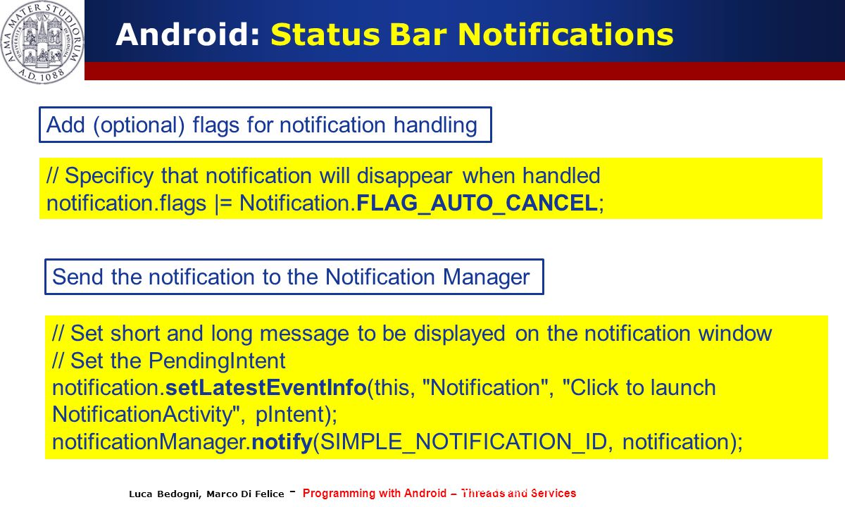 Android: Status Bar Notifications