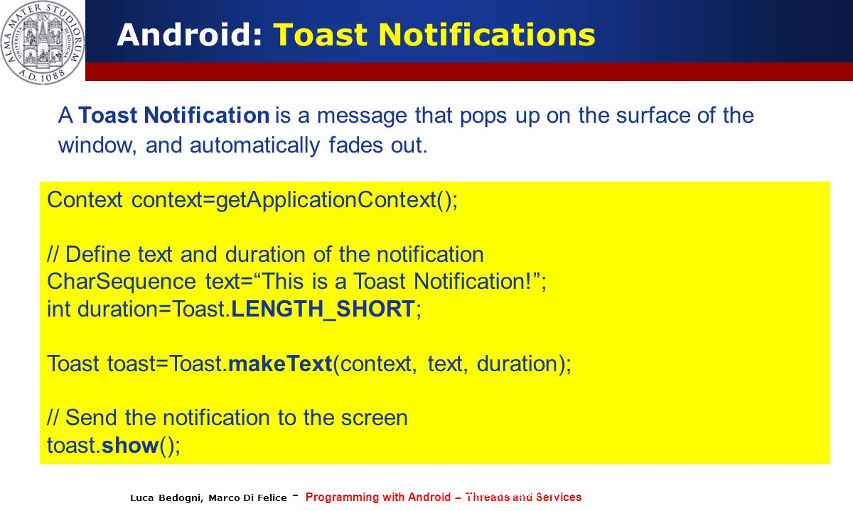 Android: Toast Notifications