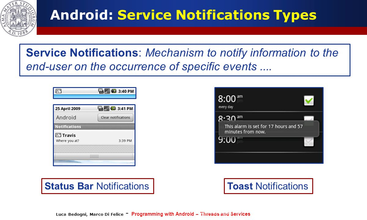 Android: Service Notifications Types