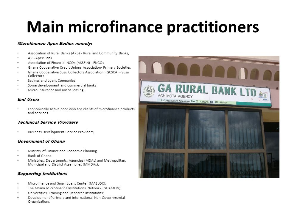 Main microfinance practitioners
