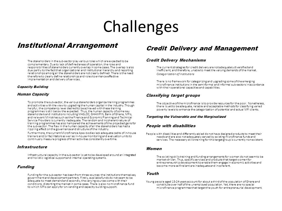 Challenges Institutional Arrangement Credit Delivery and Management