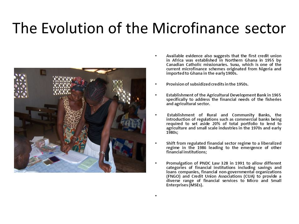 The Evolution of the Microfinance sector