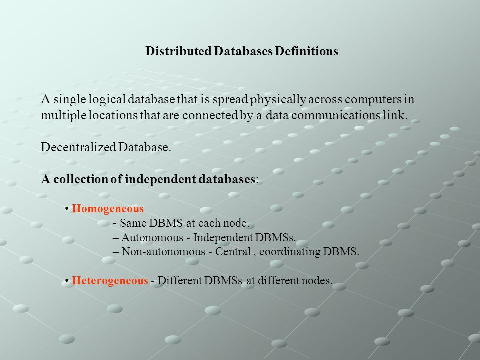 Distributed Databases Definitions
