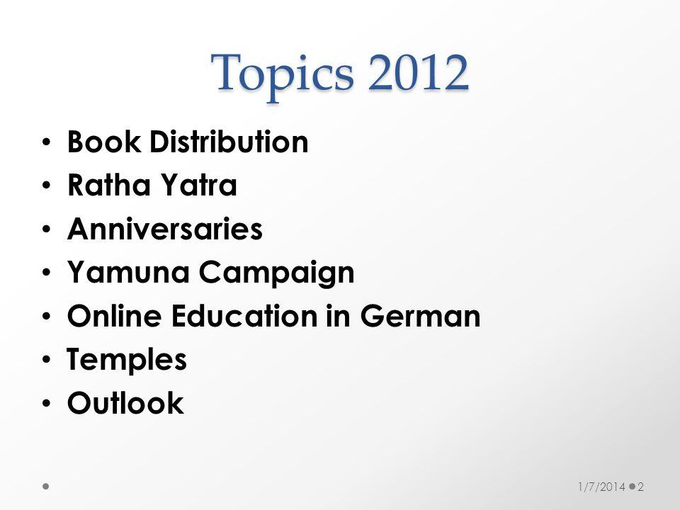 Topics 2012 Book Distribution Ratha Yatra Anniversaries