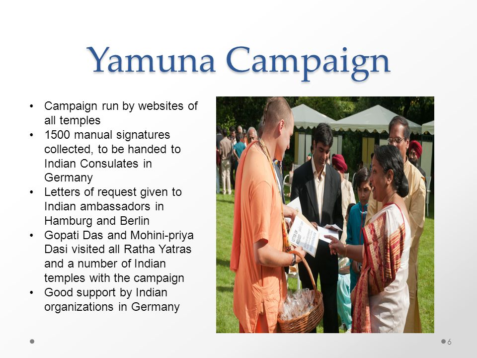 Yamuna Campaign Campaign run by websites of all temples