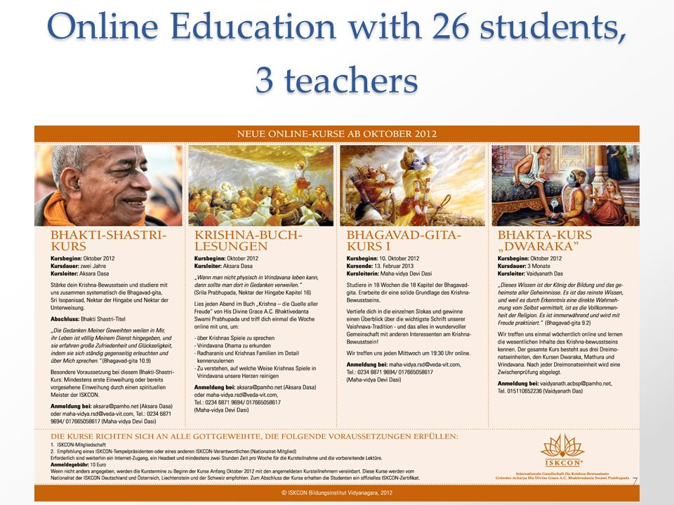 Online Education with 26 students, 3 teachers