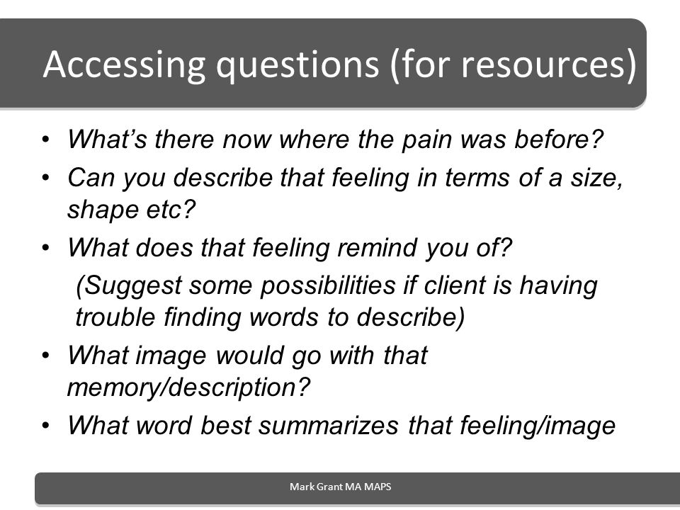 Accessing questions (for resources)
