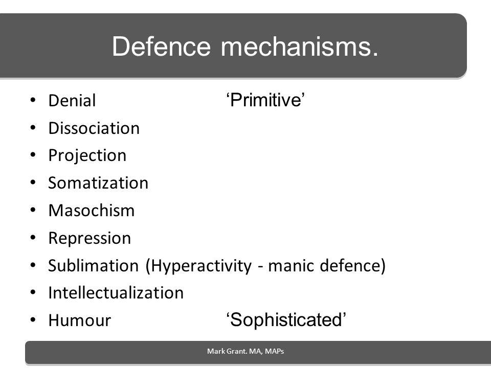 Defence mechanisms. Denial 'Primitive' Dissociation Projection