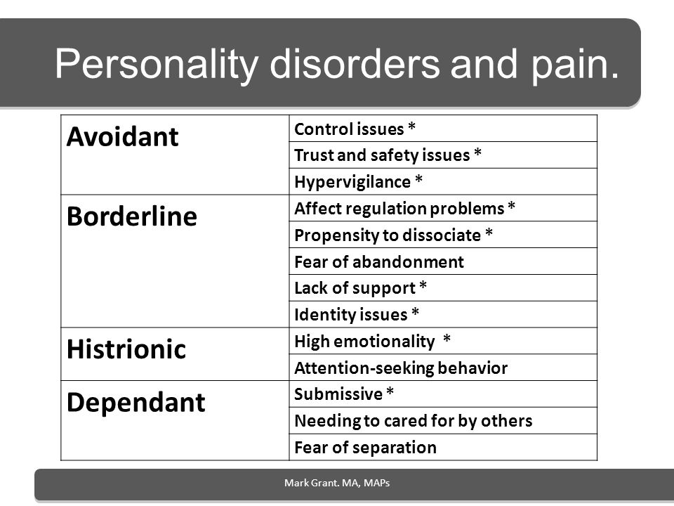Personality disorders and pain.