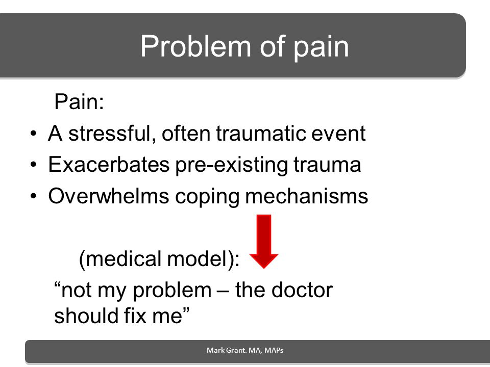 Problem of pain Pain: A stressful, often traumatic event