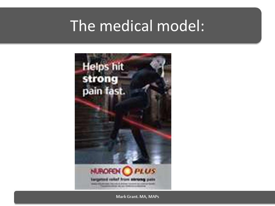 The medical model: Mark Grant. MA, MAPs