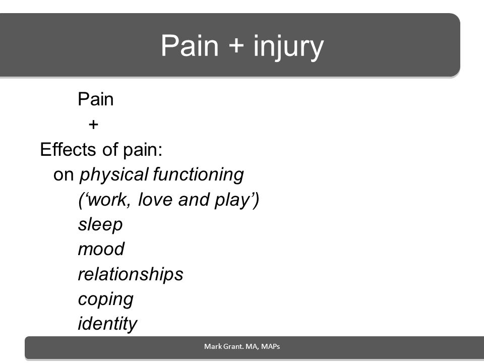 Pain + injury Pain + Effects of pain: on physical functioning