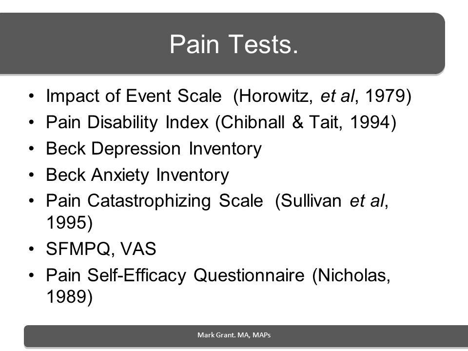 Pain Tests. Impact of Event Scale (Horowitz, et al, 1979)