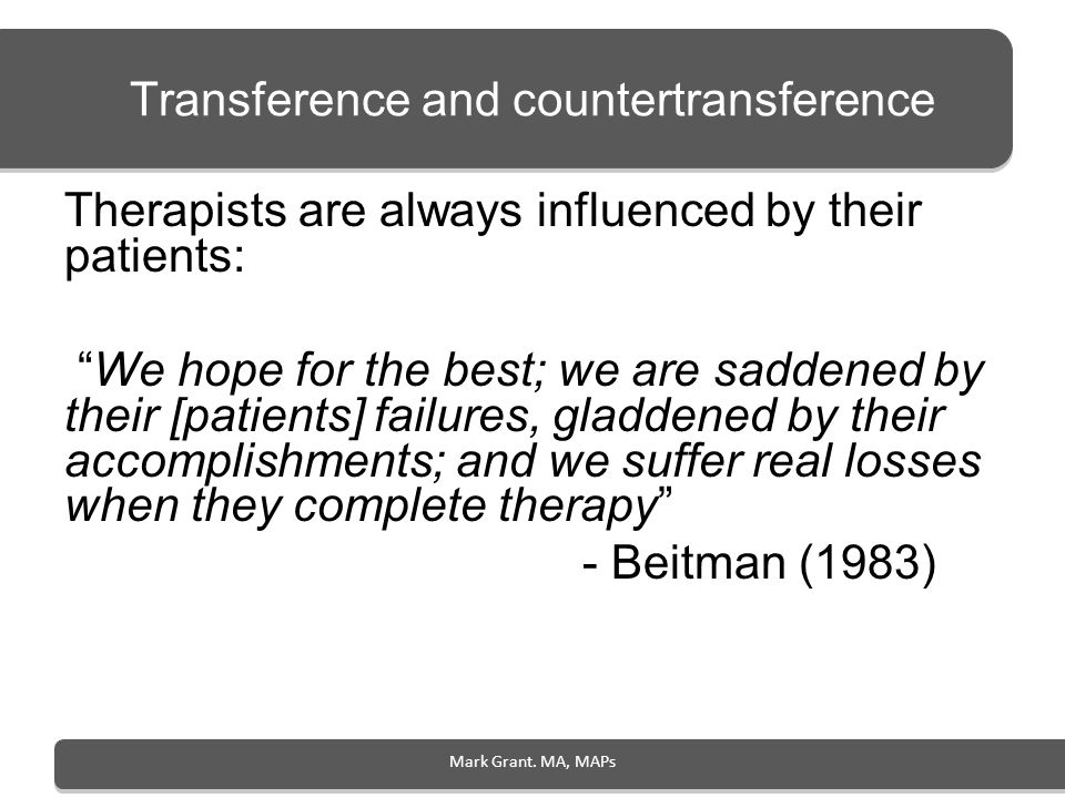 Transference and countertransference