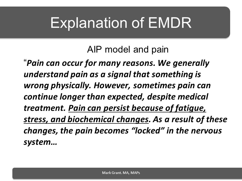 Explanation of EMDR AIP model and pain