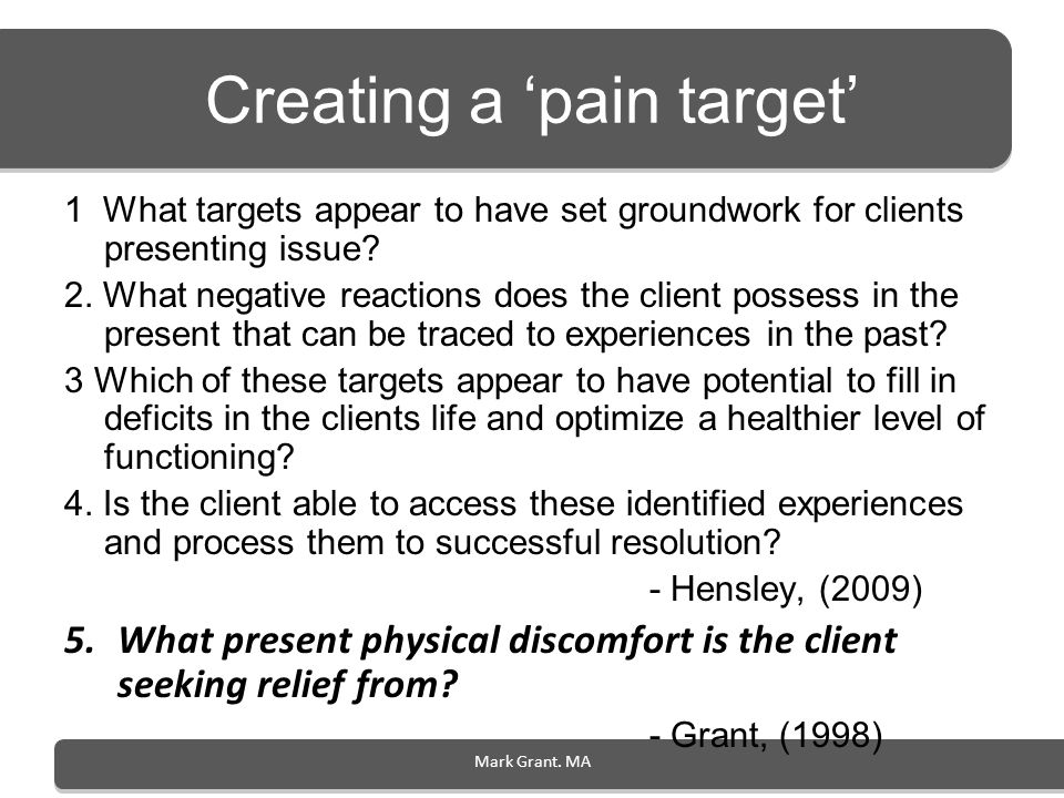 Creating a 'pain target'
