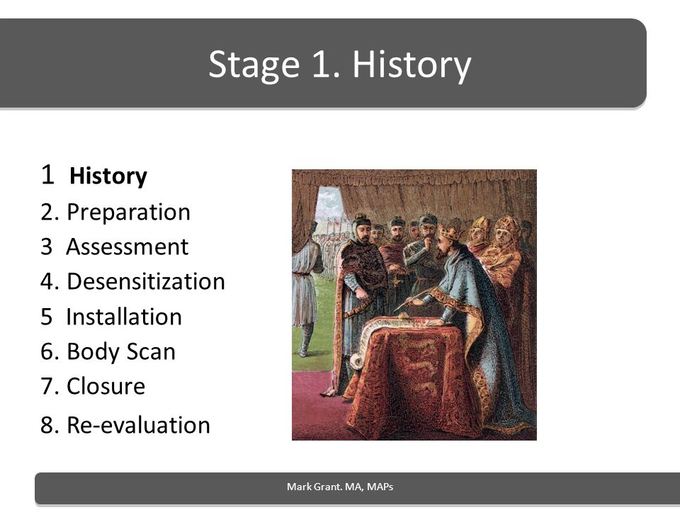 Stage 1. History 1 History 2. Preparation 3 Assessment
