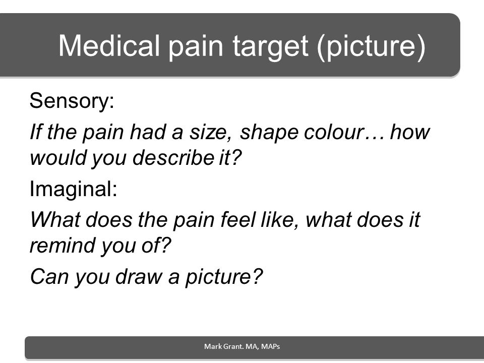 Medical pain target (picture)