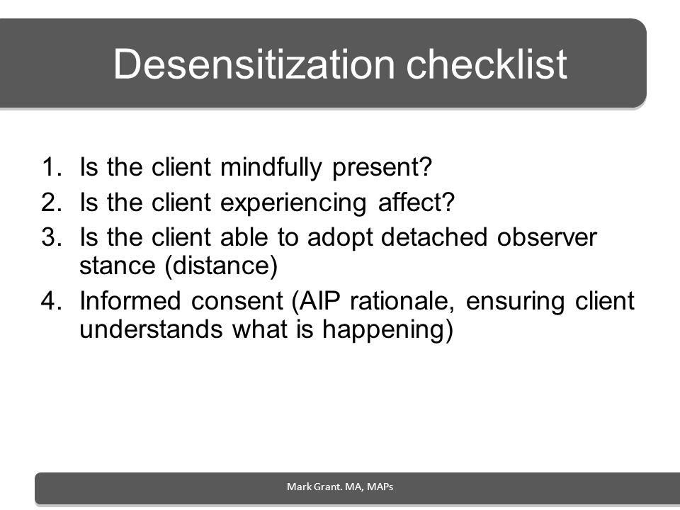 Desensitization checklist