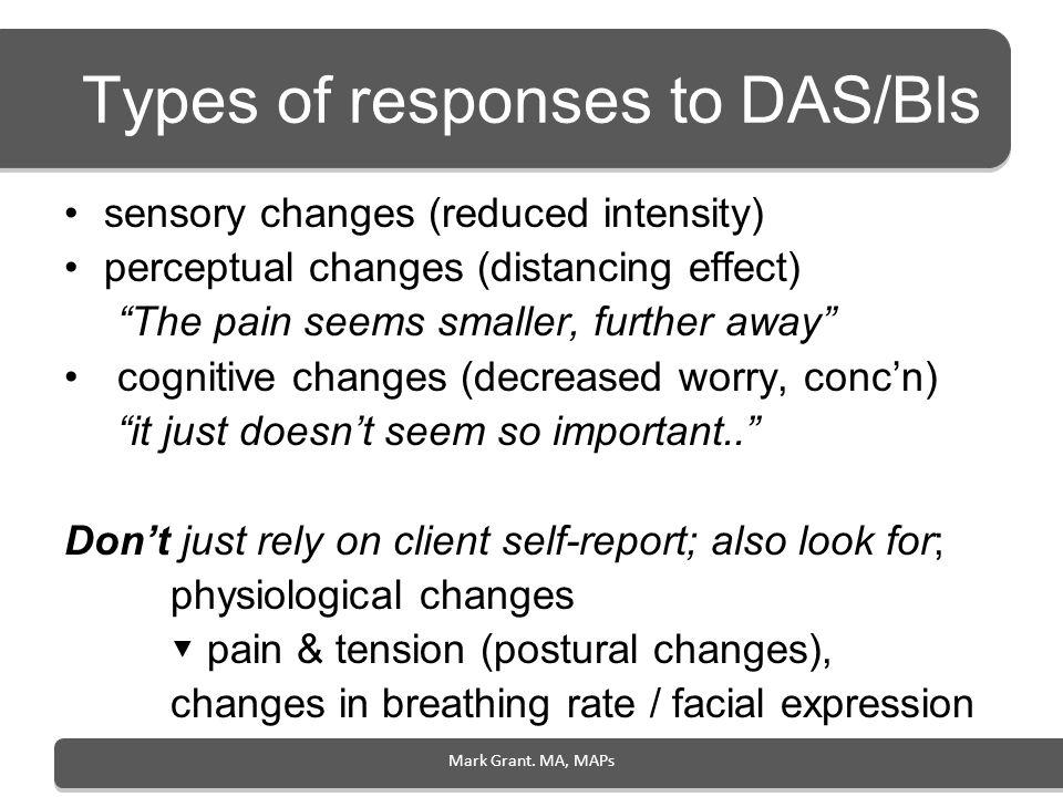 Types of responses to DAS/Bls