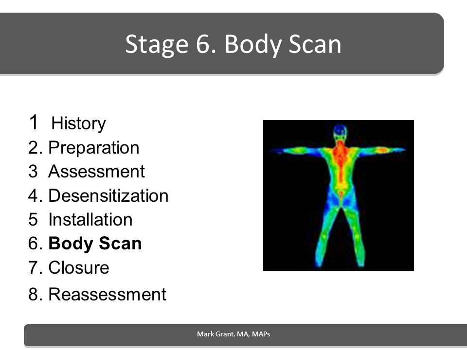 Stage 6. Body Scan 1 History 2. Preparation 3 Assessment