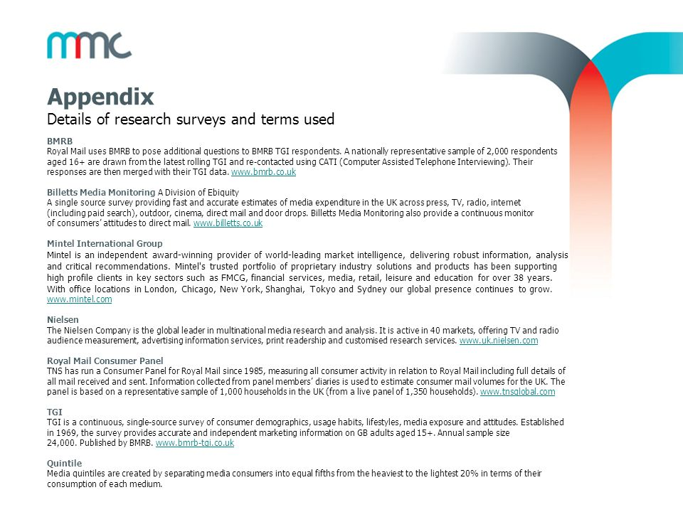 Appendix Details of research surveys and terms used 23