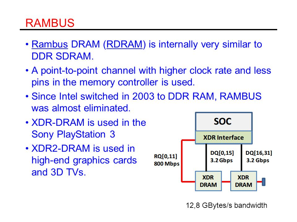 RAMBUS Rambus DRAM (RDRAM) is internally very similar to DDR SDRAM.