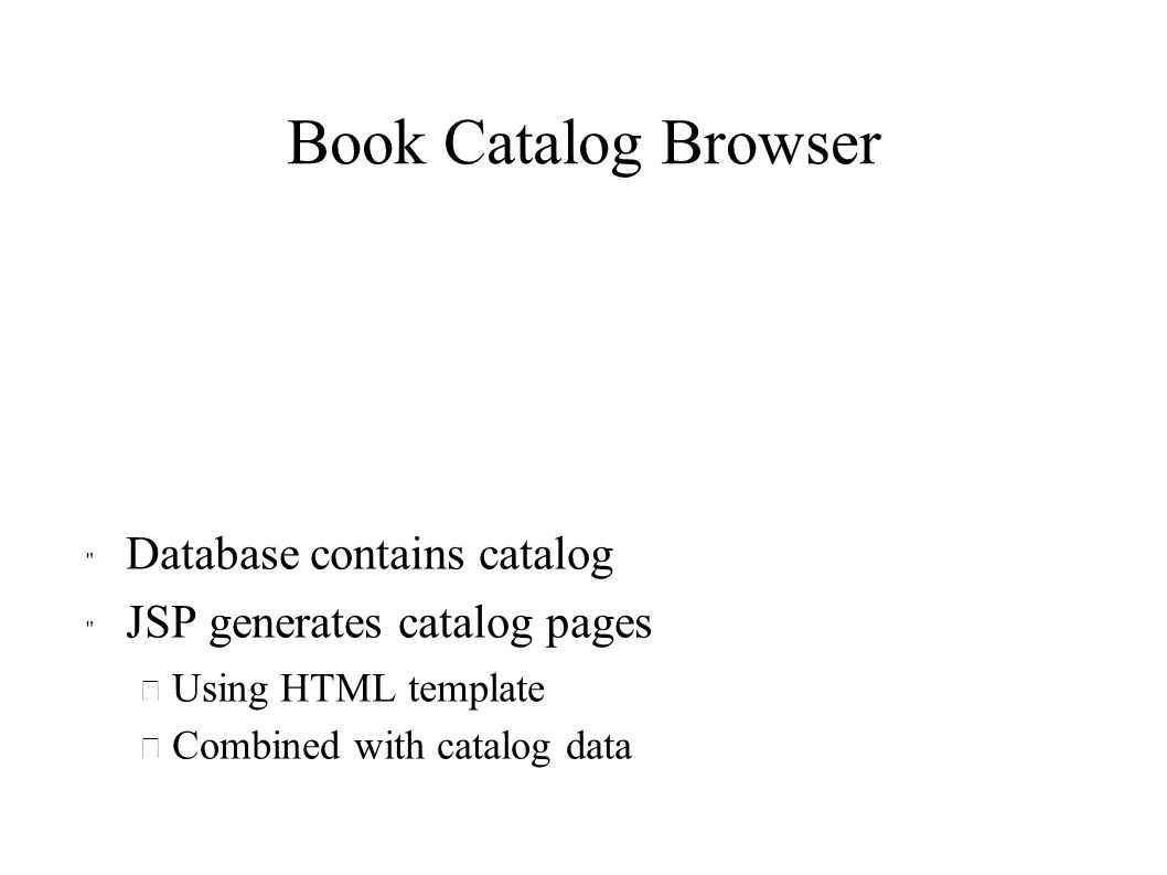 Book Catalog Browser Database contains catalog